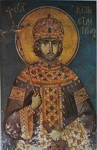 Загрузить увеличенное изображение. 600 x 921 px. Размер файла 238881 b.  Император Константин Великий. Фреска из Протата
