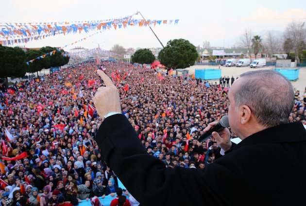 OSMANIYE, TURKEY - FEBRUARY 24: President of Turkey and Leader of Turkey's ruling Justice and Development (AK) Party Recep Tayyip Erdogan addresses the crowd ahead of the 6th ordinary provincial congress of Turkey's ruling AK Party in Osmaniye, Turkey on February 24, 2018. (Photo by Kayhan Ozer/Anadolu Agency/Getty Images)