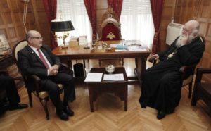 Τα μοναστηριακά προϊόντα στο επίκεντρο συνάντησης του Αρχιεπισκόπου με τη ΓΣΕΒΕΕ