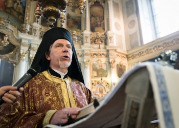"2 June 2018, Novi Sad, Serbia: On Sunday, participants of the CEC general assembly attended Sunday service in local churches in and around Novi Sad. Here, in the Eastern Orthodox Cathedral Church of the Holy Great Martyr George. His Eminence, Metropolitan Cleopas of Sweden and All Scandinavia speaks. The Conference of European Churches General Assembly takes place on 31 May - 6 June 2018, in Novi Sad, Serbia. More than 400 delegates, advisors, stewards, youth, staff, and distinguished guests take part in the 2018 General Assembly and related events. Gathered together under the theme, ""You shall be my witnesses,"" the assembly forges the path for CEC for the coming five-year period and beyond. Of central concern is the future of Europe in light of economic, political, and social crises and how the churches will live out a vision of witness, justice, and hospitality within this context."