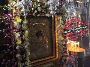 Αγιο Ορος: Η στολισμένη Εικόνα της Παναγίας Αξιον Εστί