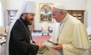 Συνάντηση Βολοκολάμσκ Ιλαρίωνα με τον Πάπα Φραγκίσκο