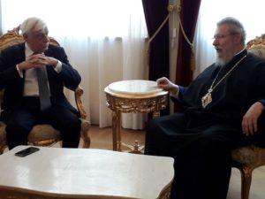 Συνάντηση του Προκόπη Παυλόπουλου με τον Κύπρου Χρυσόστομο (ΦΩΤΟ)