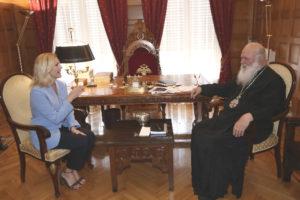 Στον Αρχιεπίσκοπο Ιερώνυμο η Εμυ Λιβανίου (ΦΩΤΟ)