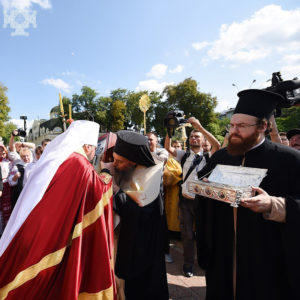 Υποδοχή Ιερού Λειψάνου του Αγίου Αποστόλου Ανδρέου στο Κίεβο από τον Επιφάνιο