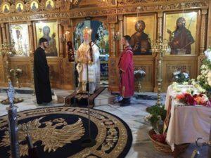Ο Χαλκίδος Χρυσόστομος στο 40ήμερο μνημόσυνο του Αρχιμ. Γρ. Τσαμαρη