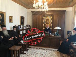 Μητροπολίτες και Καθηγούμενοι αναμένοντας τον Πατριάρχη