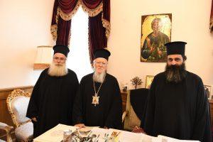 ΦΑΝΑΡΙ: Ο Μητροπολίτης Ιεραπύτνης Κύριλλος, μαζί με το νέο Πρωτοσύγκελλό του, στον Βαρθολομαίο