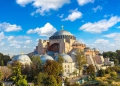 Panoramic aerial view of Hagia Sophia in Istanbul, Turkey in a beautiful summer day
